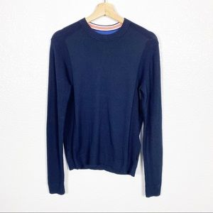Ted Baker Men's Navy Blue Crew Neck Jumper Sweater
